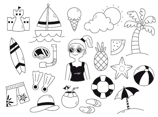 Doodle d'été dessiné à la main