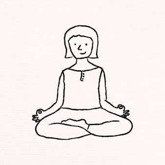 Doodle femme méditant