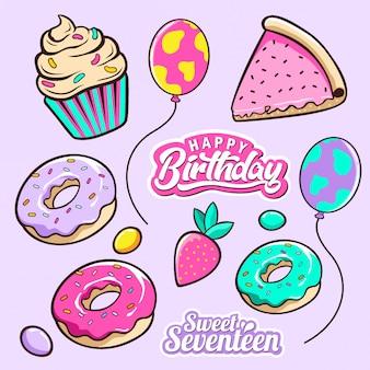 Doodle de fête d'anniversaire