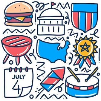 Doodle de la fête nationale dessiné à la main sertie d'icônes et d'éléments de conception
