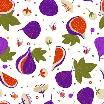 Doodle figues, fleurs, bourgeons, morceaux de figues, feuilles, modèle sans couture de vecteur. texture dessinée à la main pour papier peint de cuisine, textile, tissu, papier. fond de nourriture. fruits plats sur blanc. végétalien, cultivé, naturel