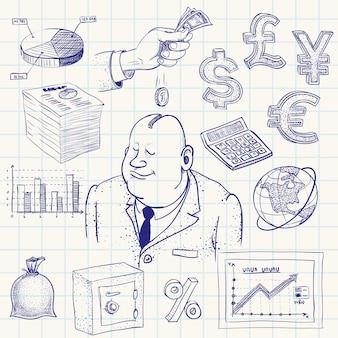 Doodle de finance dessinée à la main