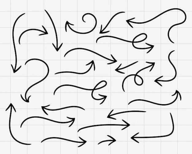 Doodle flèches dessinées à la main gros ensemble