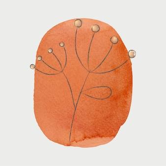 Doodle fleur sur texture aquarelle