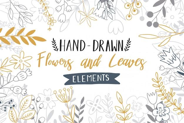 Doodle de fleurs dessinées à la main