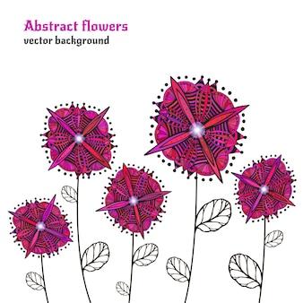 Doodle fleurs lumineuses. vecteur isolé de bordure décorative. fleurs roses abstraites. jardin futuriste, élément floral pour votre conception