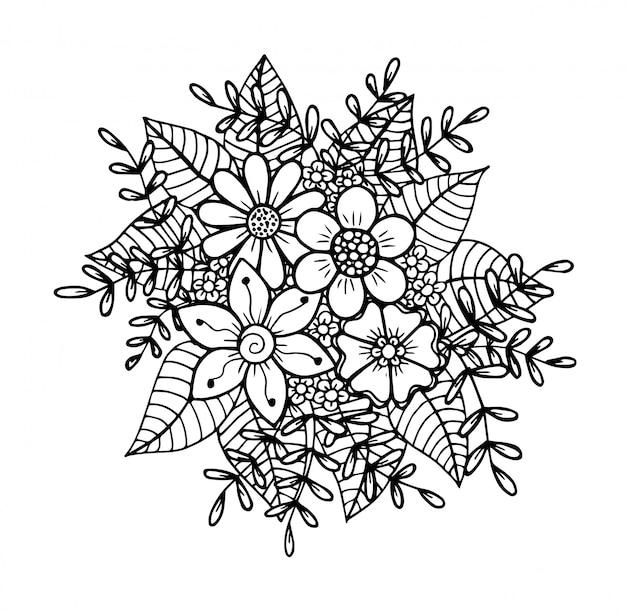 Doodle floral dessiné à la main