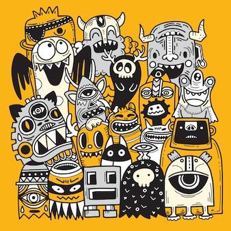 Doodle fond monstre mignon, main dessiner