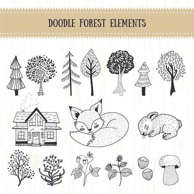 Doodle forest collection d'éléments dessinés à la main