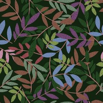 Doodle forêt feuilles et branches modèle sans couture