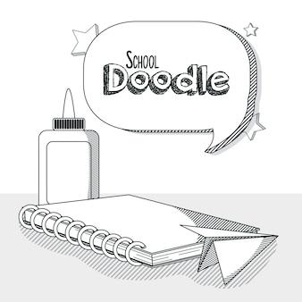 Doodle de fournitures scolaires