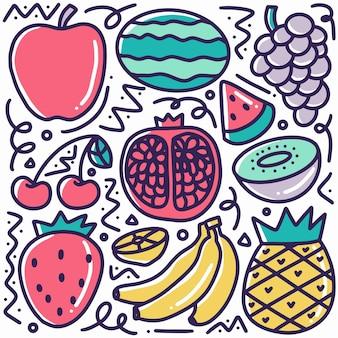 Doodle de fruits dessinés à la main sertie d'icônes et d'éléments de conception