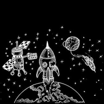 Doodle fusée et satelite
