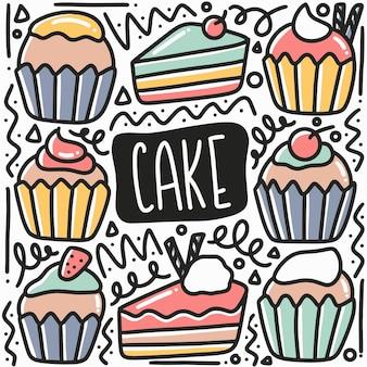 Doodle de gâteau dessiné à la main serti d'icônes et d'éléments de conception