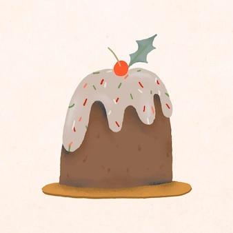 Doodle de gâteau de noël, vecteur d'illustration mignon