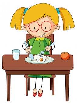 Doodle girl charcter manger le petit déjeuner