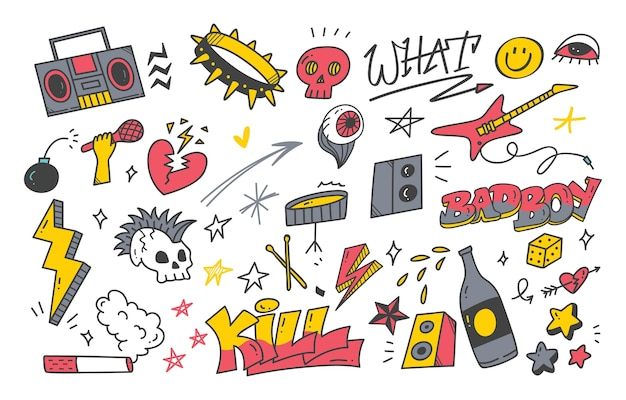 Doodle de graffiti punk dessiné à la main