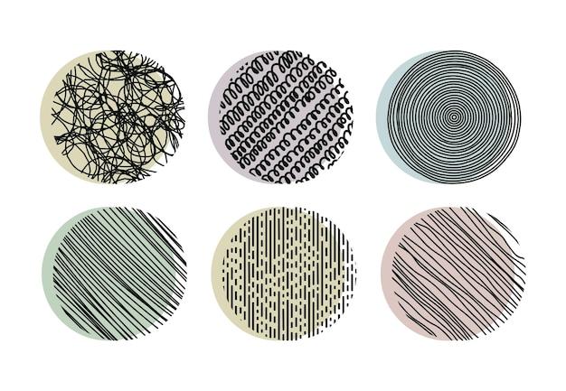 Doodle gribouillis hachures en pointillé formes vectorielles rondes
