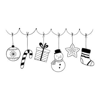 Doodle guirlande de noël avec des éléments de vacances illustration dessinée à la main d'hiver
