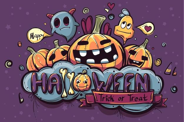 Doodle halloween coloré dessiné à la main
