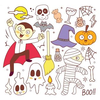 Doodle halloween mignon mis sur le blanc