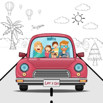 Doodle hand draw voiture homme fille garçon et voyageur de dessin animé de famille avec de la fumée et des actifs voyagent autour du concept de monde.