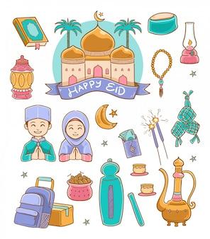 Doodle happy eid mubarak illustration couleur