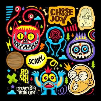 Doodle icônes autocollant monstre mignon dessinés main coloriage vector