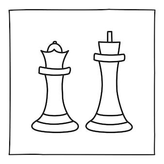 Doodle icônes de pièces d'échecs, icône de la reine et du roi dessinés à la main avec une fine ligne noire