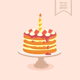 Doodle illustration dessinée à la main du gâteau d'anniversaire
