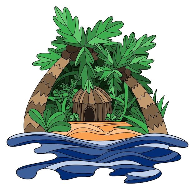 Doodle illustration d'une île tropicale avec bungalow