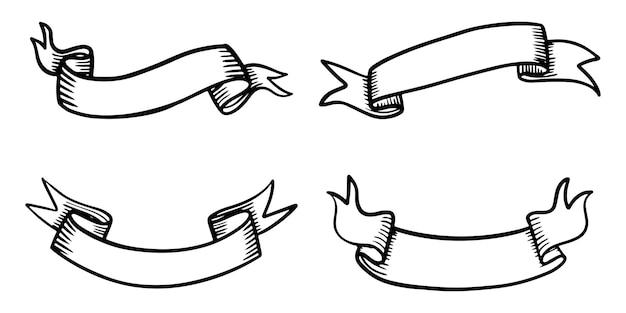 Doodle d'illustrations de bannière de ruban isolés sur fond blanc. illustration vectorielle dessinés à la main.
