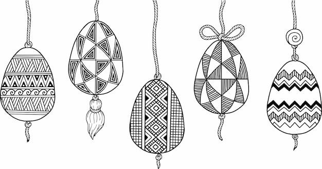 Doodle illustrations d'oeufs de pâques à colorier