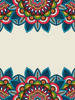 Doodle indien cadre floral vertical