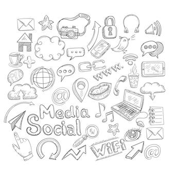 Doodle jeu d'icônes décoratives de médias sociaux