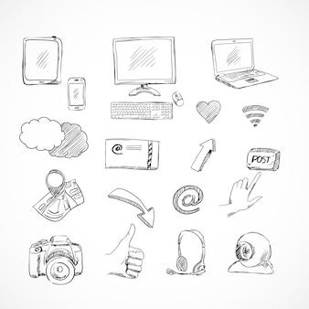 Doodle jeu d'icônes de médias sociaux des communications réseau pour blog isolé
