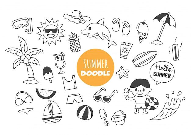 Doodle kawaii d'été