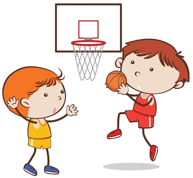 Doodle kid jouant au basketball sur fond blanc