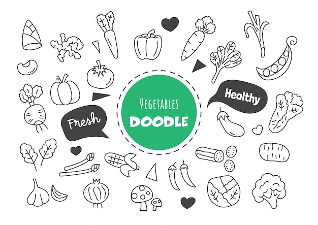 Doodle de légumes kawaii