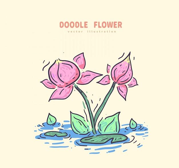 Doodle lotus avec fleur verte