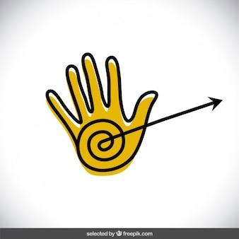 Doodle main avec la flèche
