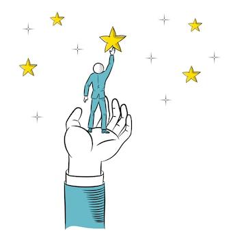 Doodle de main géante aidant un homme d'affaires à tendre la main aux étoiles. illustration vectorielle d'affaires.