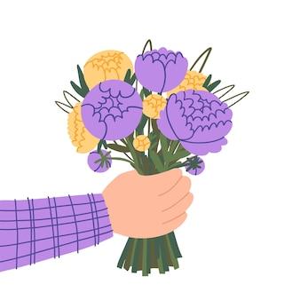 Doodle main tenant un bouquet de pivoines délicates isolé sur fond blanc pivoines coupées