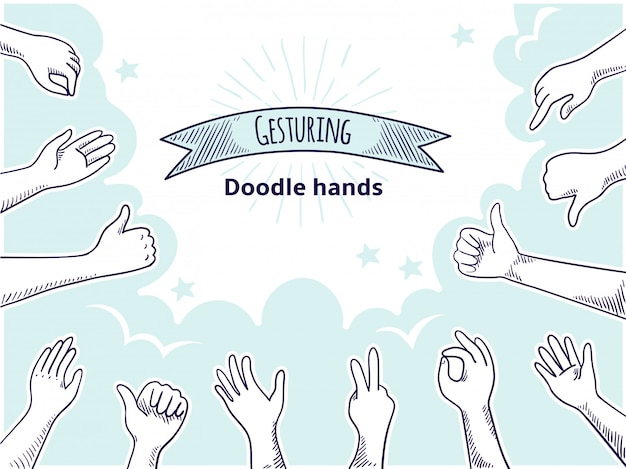 Doodle mains comme l'aversion. concept dessiné main client heureux, pouce vers le haut et esquisse d'entreprise en désaccord. ancien client signe ensemble de points d'opinion