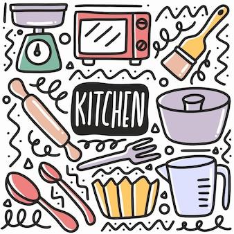 Doodle de matériel de cuisine dessiné à la main sertie d'icônes et d'éléments de conception