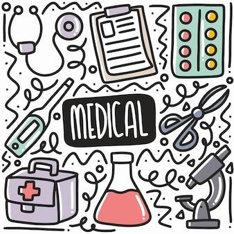 Doodle de matériel de médecin dessiné à la main serti d'icônes et d'éléments de conception