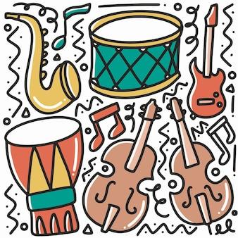 Doodle de matériel musical dessiné main sertie d'icônes et d'éléments de conception