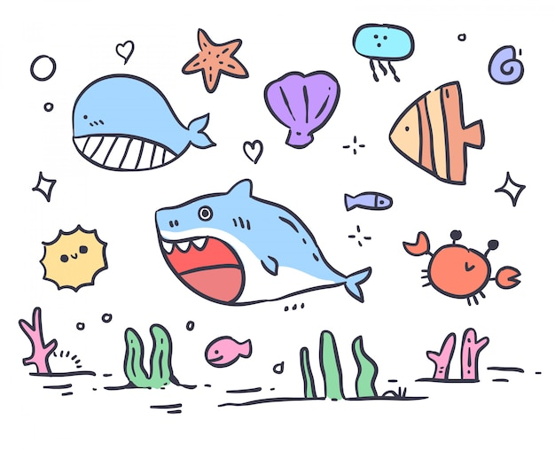 Doodle de mer animaux dessinés à la main