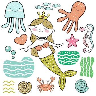 Doodle mignon de bande dessinée de sirène
