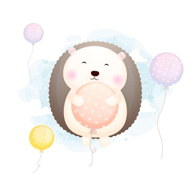 Doodle mignon bébé hérisson câlin et voler avec le personnage de dessin animé de ballon